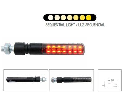 LIGHTECH Knipperlichten Led ABS Plastic Zwart Side & Brake Light