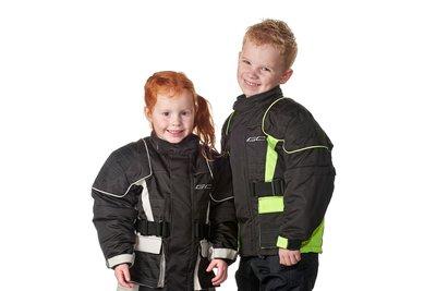 IGM Kinder motorjas zwart-fluor